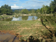 A series of dammed paddy fields to create fish ponds in a valley. Photo taken in Xieng Khouang Province in 2009. Ponds extend above and below this one